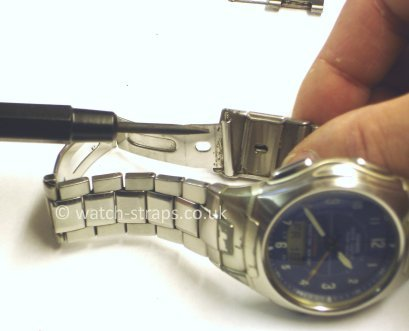 Casio Watch Straps Metal Bracelet Link Removal: Replacing the spring bar